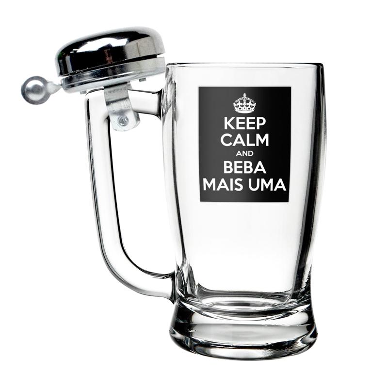 CANECA CAMPAINHA KEEP CALM E BEBA MAIS UMA 600ML