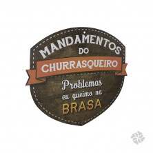 PLACA MANDAMENTOS DO CHURRASQUEIRO HUMOR Hover